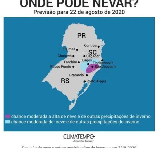 Confira onde pode nevar no Brasil neste fim de semana