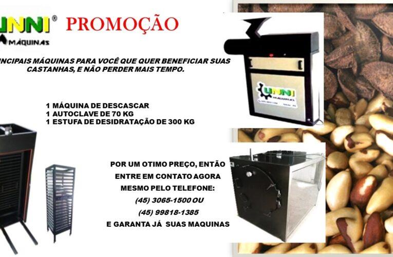 Máquinas para beneficiar castanha do Pará